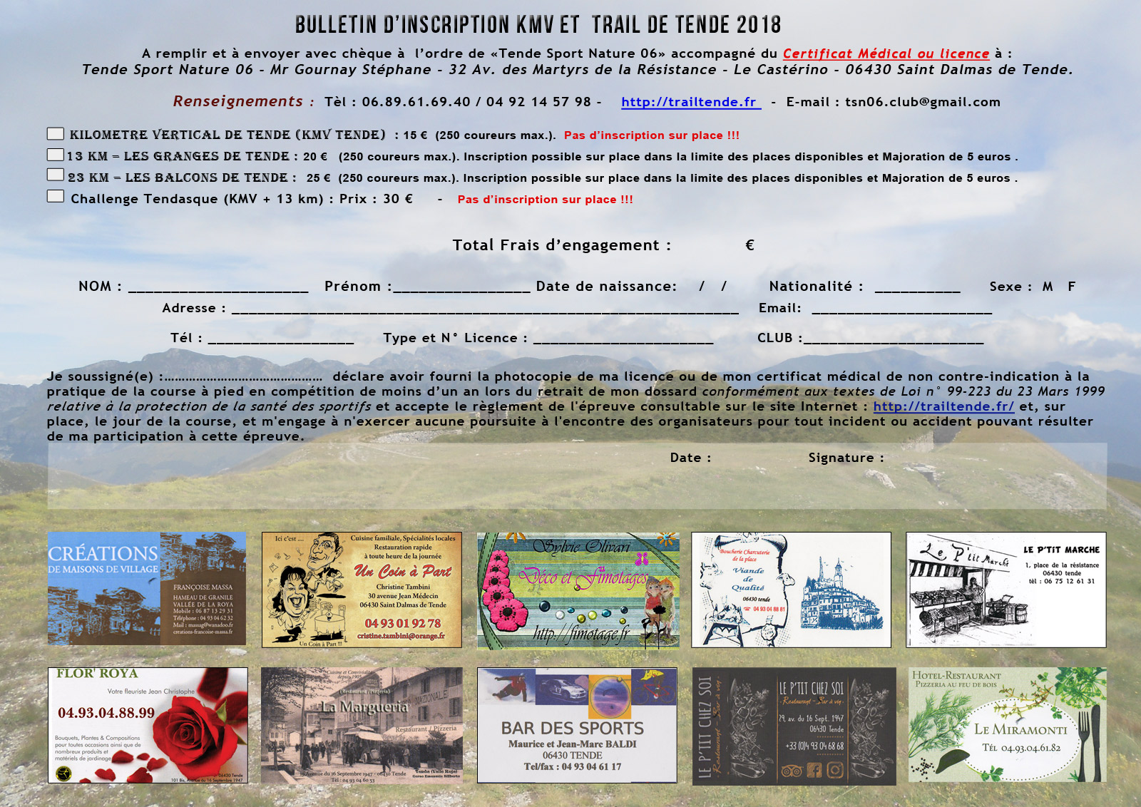 Inscription papier KMV et Trail de Tende